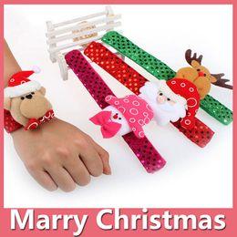 Wholesale Bracelets Cotton - 2016 Christmas Gift Watch Xmas Santa Claus Snowman Toys Slap Pat Circle Bracelet Wristhand Christmas Decoration Ornament Free Shipping 1610