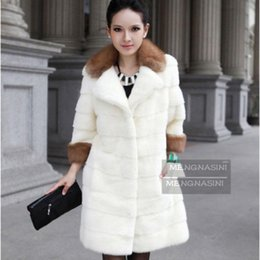 Wholesale Sell Rabbit Fur Coat - Faux Fur Winter OuterWear Warm Cool Fashion Tops Selling Plus Size S-XXXL Luxurious Imitation Fox Collars Rabbit Fur Coat
