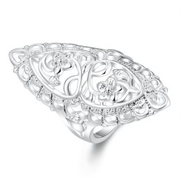 Clássico Criativo Esculpido De Prata Banhado A Jóia Estilo Britânico Elegante Declaração Anel Oco Chique Flor Anel para As Mulheres Unisex Longo Grande Anel de Fornecedores de anel de mulher grande flor