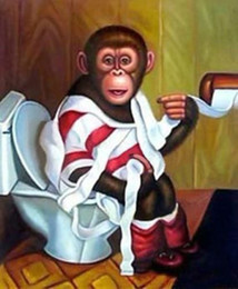 Emoldurado Frete Grátis Engraçado Macacos, Pintado À Mão Pura Nova moderna Arte Asiática Pintura A Óleo Na Lona de Alta Qualidade. Tamanhos multi moore2012 de