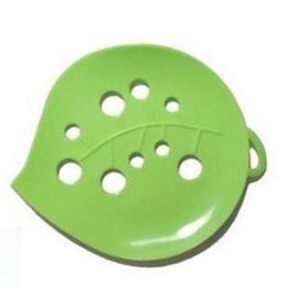 Saponi verdi online-150Pcs portasalviette da bagno Foglia verde portasapone Vassoio Custodia Box Doccia Wc Hotel Scatola di sapone Verde