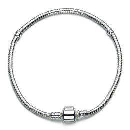 Wholesale Sterling Silver Beaded Bracelets - Wholesale 925 Sterling Silver Charm Bracelets Screw Clasp Bracelet Snake Chain Bangle Fit European Charms Silver Beads DIY Jewelry