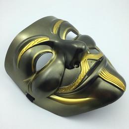 Wholesale Christmas Vendetta - Antique V Mask Halloween Party Mask Gold Eyeline Beard Vendetta Mask Anonymous Movie Guy Fawkes Mask Cosplay Film Mask free shipping