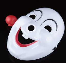 Wholesale Masquerade Mask Nose - Hot Halloween Hite Clown Red Nose mask Funny Fancy Dress Party Jester Jolly Mask PVC Masquerade Carnival Masks white festive event supplies