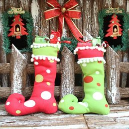 Wholesale Small Christmas Stockings - New Cute Santa Claus Elf Shoe Boots Suspenders Pant Candy Gift Bag Small Sack Stocking Filler Boot Pendant Christmas Decoration For Home