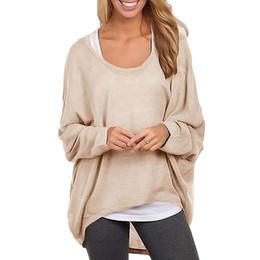 All'ingrosso-2016 donne di modo Blousa oversize baggy sciolto maglione magliette o-collo casual manica lunga camicia donna top plus size vestiti da