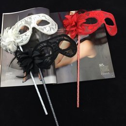 Wholesale Mardi Gras Side Face Masks - On sale Lace Party Mask On Stick Flower Side Venetian Masquerade Mask Mardi Gras Carnival Halloween Mask Black White Red Color Free Shipping