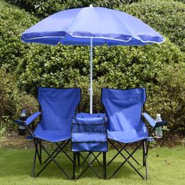 Wholesale folding picnic - Portable Folding Picnic Double Chair Umbrella Table Cooler Beach Camping Chair