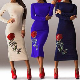 Wholesale Vintage Rose Prints - 2017 Newest Red Rose Printed Sheath Women Dress High Neck Long Sleeve Mid Calf Fashion Party Dress Vintage Evening Dress Free Shipping
