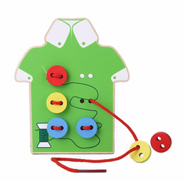 Wholesale Education Kinds - Montessori Education Wooden 2 Kinds Wear The Button Wooden Toys Threading Board Beaded Blocks Child Birthday Gift