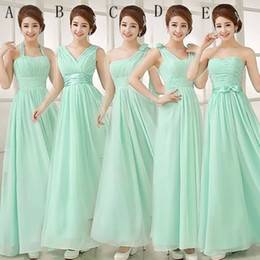 chiffon wedding dresses photos Promo Codes - Pleated Long Chiffon Bridesmaid Dress Mint Green 2019 Floor Length Wedding Party Dress 5 Style Mixed Order