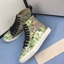 Wholesale Green Flower Street - 2017 Hot New Arrival Flower Print And Tiger Print Lover Sneakers High Top Two Fashion Style Men Women G Street Shoes