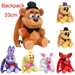 Wholesale Game Backpack - 33CM FNAF backpack Five Nights At Freddy's toys Golden Freddy Fazbear Foxy bonnie plush backpack kids school bag