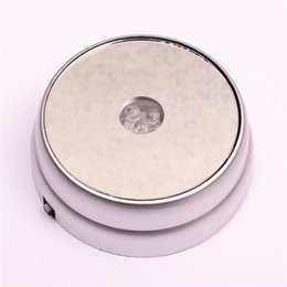 Wholesale Collectible Art Glass - New Rond 3 LED Colors Lights light up Display Stand Base silvery For 3D Glass Crystals Ball paperweight cocktail champagne + DC Adapter
