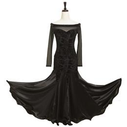 Wholesale Long Black Dance Skirts - Modern ballroom Waltz Tango Foxtrot dress costumes dance performance GB leotard long sleeved shoulder stitching large gauze skirt word
