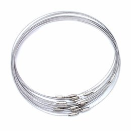 Wholesale Stainless Steel Screw Clasps Wholesale - Steel Wire Chocker Necklaces Screw Clasp Bubble Gum 45cm High Quality Fine DIY Jewelry Accessories b060