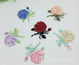 Wholesale Wholesale Sewing Notions - 50pcs lot Rose Flower Embroidery Patch Appliques Iron On Patch For Cloth Bags Sewing Notions Garment Accessory