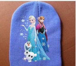 Wholesale Cute Christmas Hats - Autumn Winter Frozen Elsa Anna Kids Beanie Hat Children Knitting Hats Cute UV Cap Accessories Caps Bone Snapback Hat Knitting Warm Hot Sale