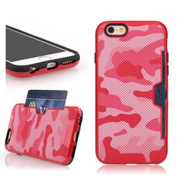 Wholesale Tpu Camouflage Iphone Cases - Camouflage Card Slot Holder Armor Phone Case For Iphone X 8 7 6s Plus Samsung Note 8 TPU PC Hybrid Cover OPPBAG