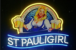 "Wholesale Beer Neon Bar Signs - Brand New St. Pauli Girl Real Glass Neon Sign Beer light 17""X14"""