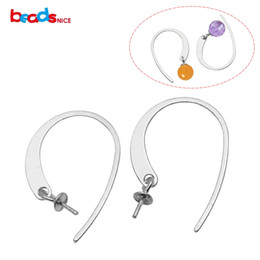 Wholesale 3mm 925 Earrings - Beadsnice Drop Earring Findings 925 Sterling Silver French Hook Ear Wires with 3mm Round Setting for Earring Making ID 34929