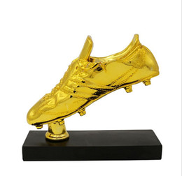 Wholesale Products Boots - 2017 New Products Resin Football Gold Boots Trophies Custom Soccer Shoes Series Memorial Gifts Sports Trophies