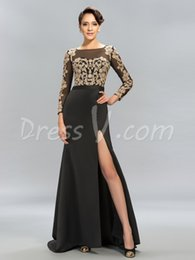 Wholesale White Forma Dress Sleeves - 2017 Black Sheath Long Evening Dresses Scoop Sexy Split-Front Golden Appliques Long Sleeves Prom Dresses Forma evening dress free shipping