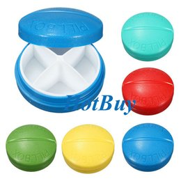 Wholesale Travel Medicine Containers - Travel 4 Compartment Compact Pill Medicine Tablet Container Case Stroge Medical Tools #3898