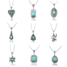 Wholesale Amethyst Turquoise - Heart flower 11 Styles opal turquoise tiger's-eye amethyst semi precious stone rhinestone openwork filigree pendants necklaces