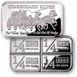 Wholesale Wholesale Bullion - 1 oz Silver Clad plated bullion bar NON-magnetism American Bars Stagecoach silver bar