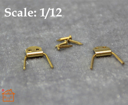 Wholesale Cabin Doll House - DIY 1:12 scale Dollhouse Miniatures Copper Hinges Set DIY Furniture Accessory  Doll House Kits Room Decor;Doll Houses Door Cabin  Lot 4 sets