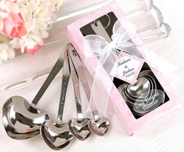 Wholesale Wedding Spoons Gifts - Love Wedding favors of Simply Elegant Heart Shaped Stainless Steel measuring spoon 4pcs set gift box fast shipping JF-51