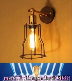 Wholesale Black Vintage Metal Lamp - NEW Vintage Industrial Lighting wall Lights E27 Country Small Black Metal Lamps Edison Lighting Fixtures MYY