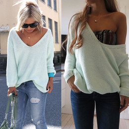 Wholesale Womens Off Shoulder Sweaters - Wholesale-Womens Ladies Off The Shoulder Chunky Knitted Oversized Baggy Sweater Jumper Top size S-XL, several colors