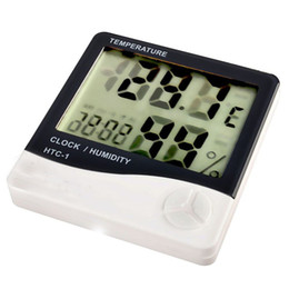 Wholesale Large Digital Lcd Clock - Large screen Digital LCD Temperature Humidity Moisture Meter Clock Thermometer Hygrometer HTC-1 in retail package