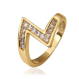 Wholesale Free Promise Rings - Promise Yellow Gold Plated Ring Women Cubic Zircon Crystal Rhinestone Christmas Gifts Free Shipping Size 7 8 GPR577