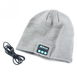 Wholesale Speakers Hands - Knitted Winter Soft Warm Hat with Bluetooth V3.0+EDR headset Hands-free Music Mp3 Speaker Mic Cap Hats For Smart Phone