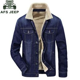 Wholesale Men Jeans Thickening - Wholesale- M~4XL New Retro Warm Denim Jackets Mens Jeans Coats Winter Jackets Brand CLOTHES Thicken Denim Coat Men Outwear Male Blue Black