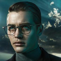 Wholesale Plastic Men - new luxury logo eyeglasses union DT men brand designer titanium optical glasses metal square frame come with original case