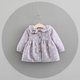 Wholesale Ruffle Collar Dot - Ins selling Korean style girl dot dress fall winter long sleeve round collar cute rabbit print Dress 100% cotton little girl princess dress