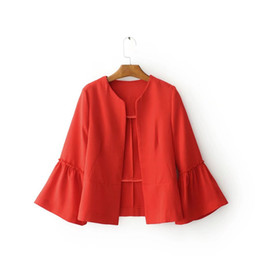 Wholesale Ladies Long Tops Designs - 2017081426 women elegant solid jacket open stitch design flare sleeve coats black red ladies casual brand outerwear top