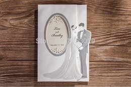 Wholesale Tri Fold Wedding Invitations Wholesale - Wholesale- Free Shipping Romantic Wedding Cards Tri-Fold Vertical Bride Groom Wedding Invitations With Personalized Printing+Envelope Seal