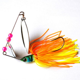 Wholesale Metal Blade Lures - 50pcs Spinnerbait 18g Silicone Wire Composite lures silver blade metal spinner lures fishing lures fishing hard bait