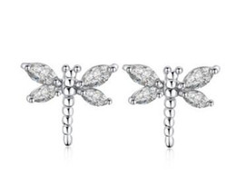 Wholesale 14k Gold Star Stud Earrings - Star with the section of the dragonfly shape zircon earrings 18K gold plating