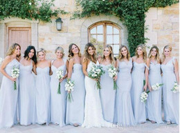 Wholesale Ice Blue Wedding Gowns - Ice Blue Bridesmaid Dresses Chiffon Country Long A Line Wedding Party Dress 2017 V-neck Long Evening Gowns Maid Of Honor Custom Made