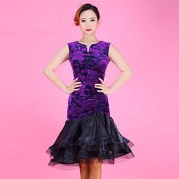 Wholesale Chinese Dance Clothes - special offer female purple black splicing Latin dance clothing adult Chinese sleeveless cheongsam dress for rumba samba chacha