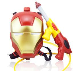 Wholesale Iron Man Guns - Spider-Man, Iron Man Backpack water gun toys high pressure water gun children beach toys pull-out