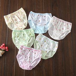 Wholesale Wholesalers Girls Underwears - 6 colors Girls cute briefs cotton lace cat printed triangle pants 5 sizes kids underwears for 1-8T 3pcs per lot