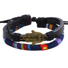 Wholesale Wholesale Leather Bracelets Jewelry - Vintage unisex jewelry Buddha's-hand colored cloth bracelets wax rope braided leather bracelets free shipping