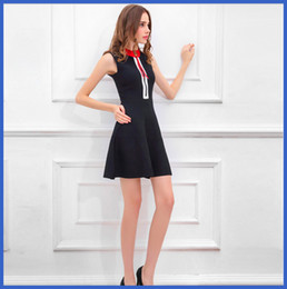 Wholesale Polo Neck Dress - 2016 Dress Vintage Zipper Sleeveless Dress Women's Polo Sleeveless Dress Temperament Slim With Big Swing Skirt Skinny ouc017